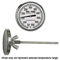 Barbecue Pit Thermometer BQ225, 2 inch dial and 4 inch stem