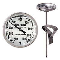 BIG Green Egg, Primo, Komodo, Grill Dome, or other Kamado-style Replacement Thermometer LT225R, 5 inch stem, 200/1000 degrees F