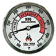 Barbecue Thermometer, 3 inch aluminum dial BQ300, 4 inch stem, RED zones