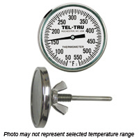 Barbecue Pit Thermometer BQ225, 2 inch dial and 2-1/2 inch stem
