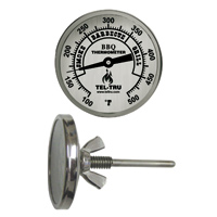 Barbecue Thermometer, 2 inch aluminum dial BQ225, 2.5 inch stem, zones