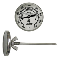Barbecue Thermometer, 2 inch aluminum dial BQ225, 4 inch stem, zones