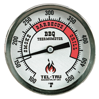 Barbecue Thermometer, 3 inch aluminum dial BQ300, 2-1/2 inch stem, RED zones