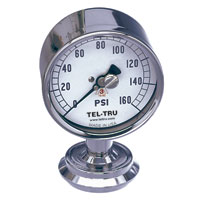 "Food and Dairy Sanitary Pressure Gauge 3580, 3-1/2"" dial"